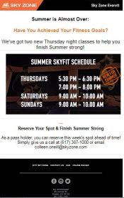 Summer SkyFit Schedule